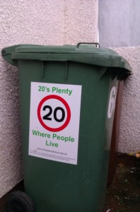 twenty is plenty wheelie bin sticker
