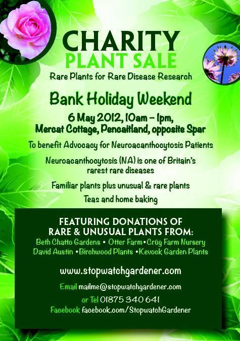 Rare plants for rare diseases sale by the StopwatchGardener Sunday 6th May from 10am. Click for more information.